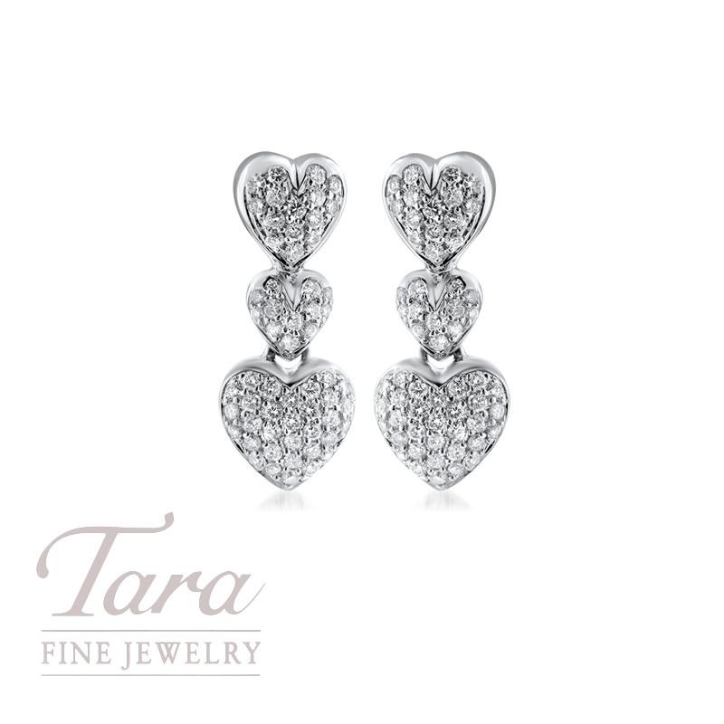 18K White Gold Diamond Heart Earrings 1.16TDW