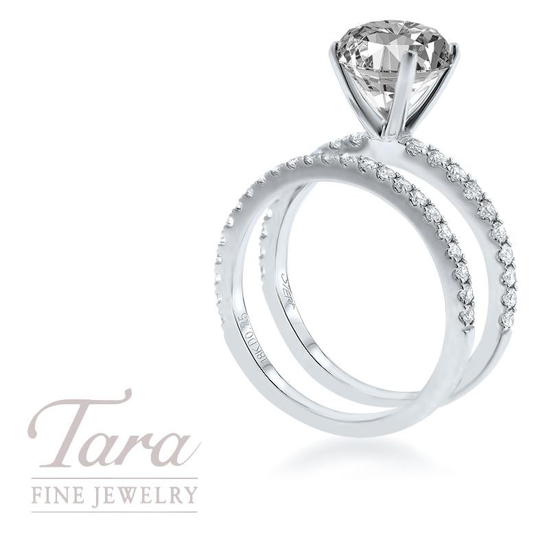 18K White Gold Diamond Wedding Set .30TDW; .25TDW Center Stone Sold Separately