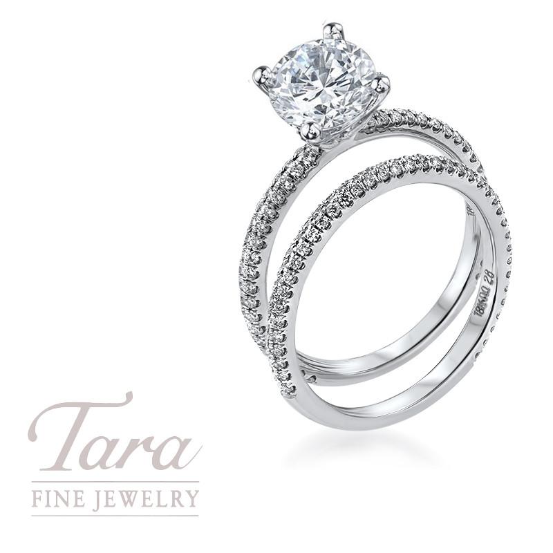 18K White Gold Diamond Wedding Set .38TDW Engagement Ring, .28TDW Band