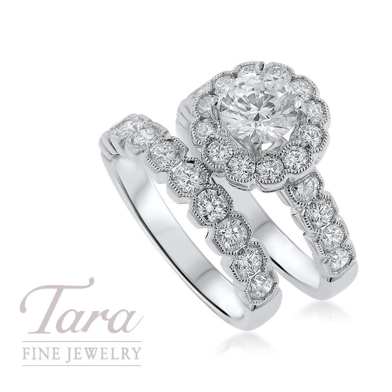 18K White Gold Diamond Wedding Set .74TDW; .97TDW