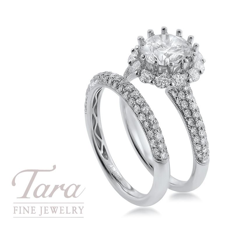 18K White Gold Diamond Wedding Set 1.01TDW Semi; .46TDW Band (Center Stone Sold Separately)