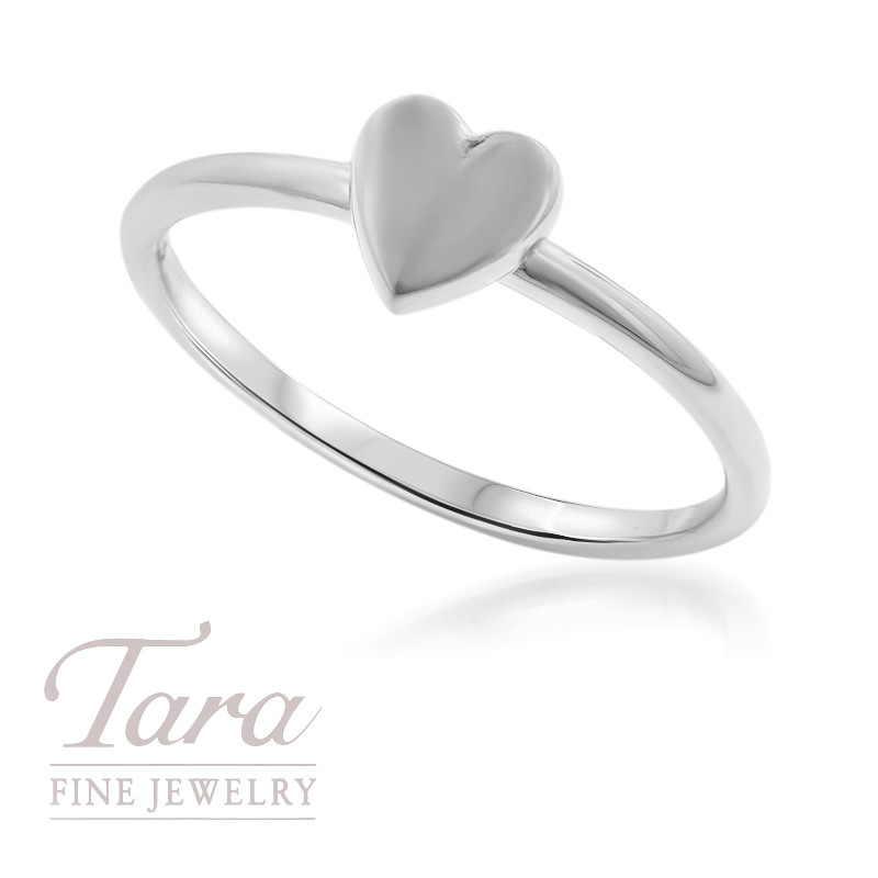18K White Gold Heart Stackable Ring