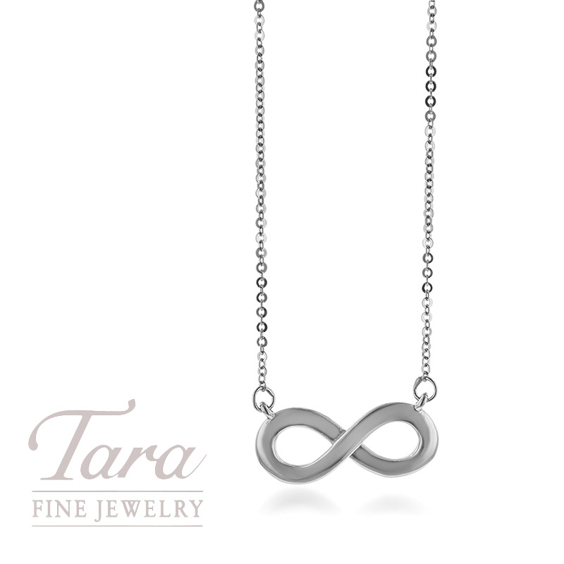 18K White Gold Infinity Pendant and Chain