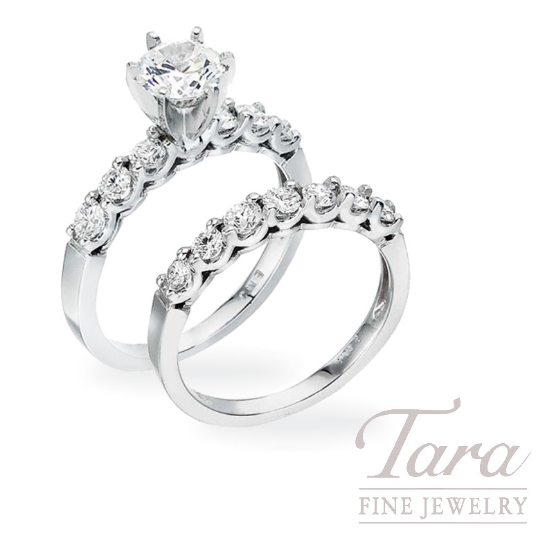 Diamond Engagement Ring and Band in 18K White Gold, .86 TDW (Center stone sold separately)