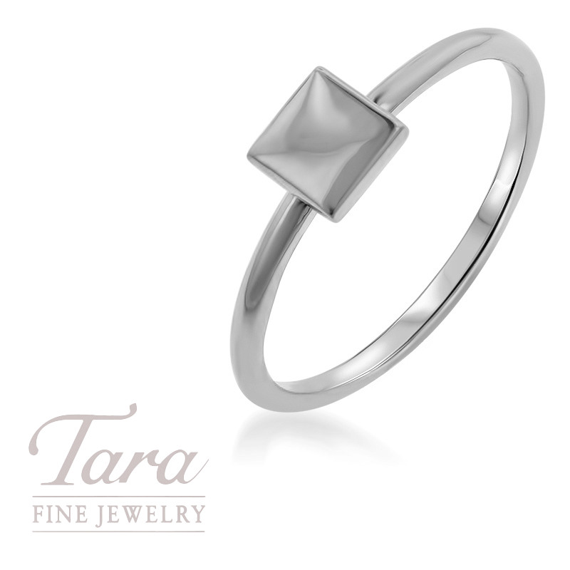 18K White Gold Square Stackable Ring
