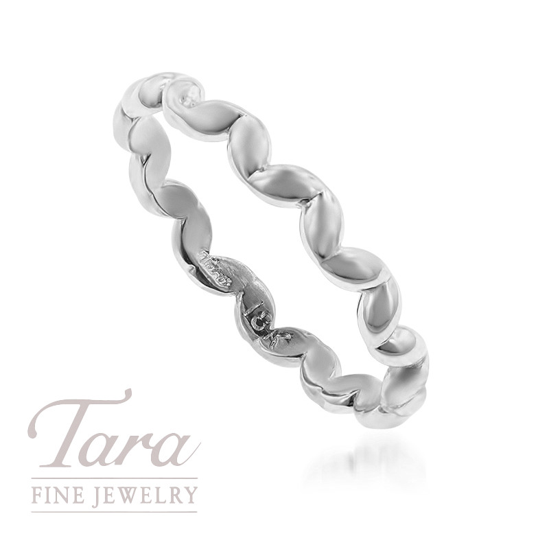 18K White Gold Stackable Wave Style Ring