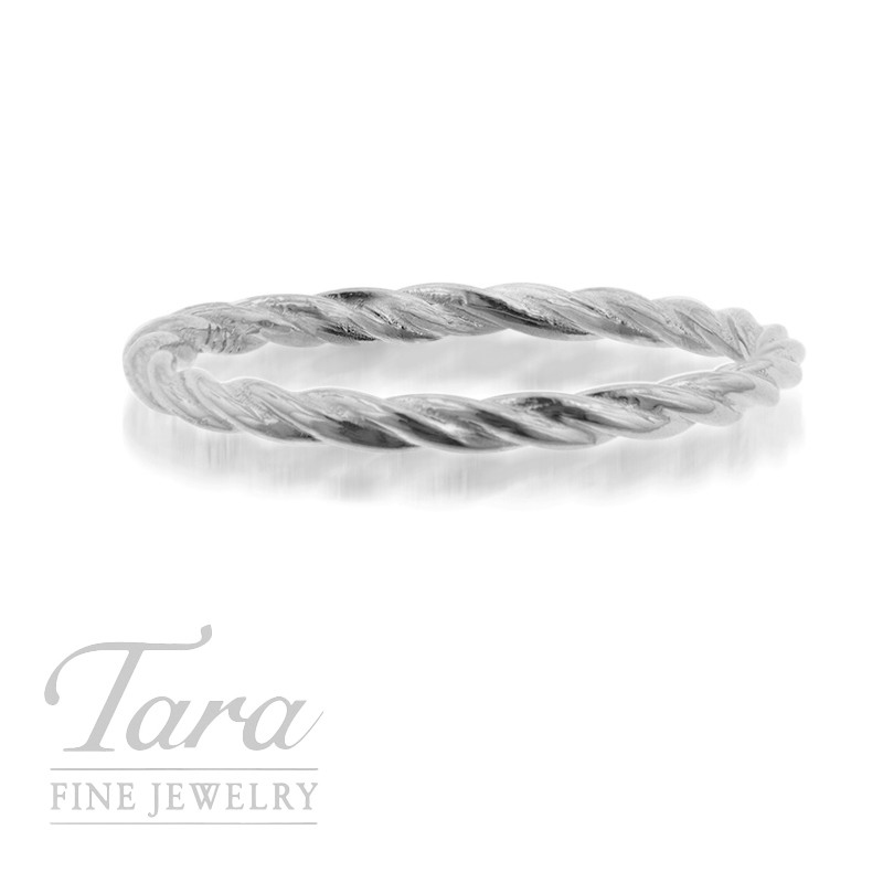 18K White Gold Twist Stackable Ring