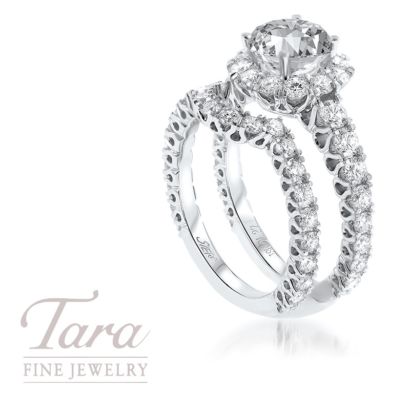 18K White Gold Wedding Set 1.27TDW; .70TDW (Center Stone Sold Separately)