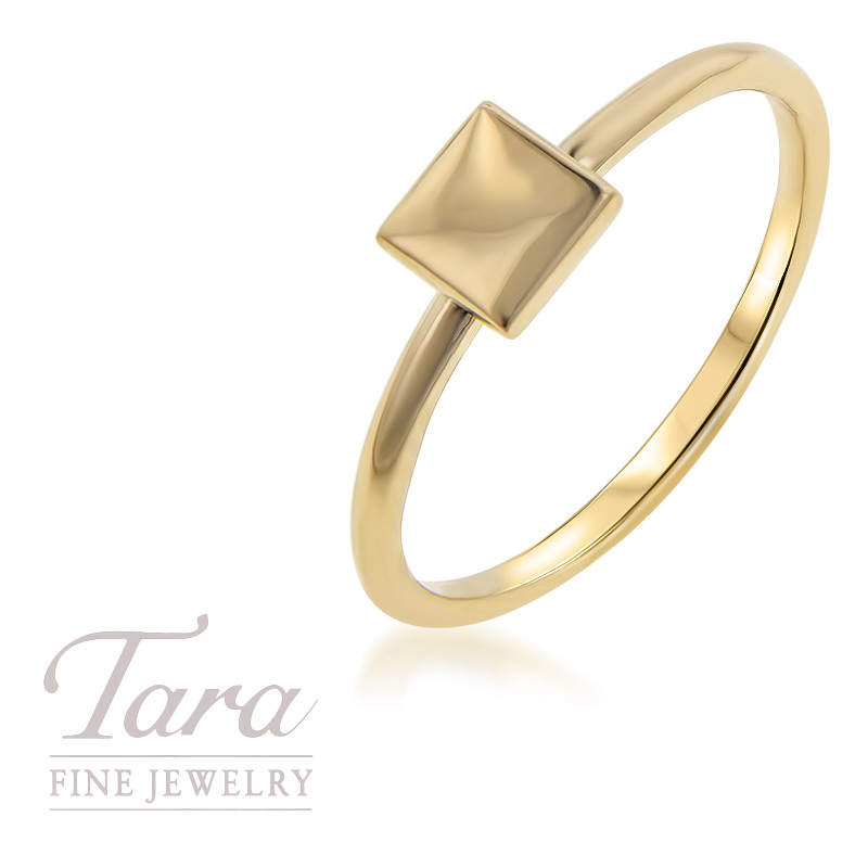 18K Yellow Gold Square Stackable Ring