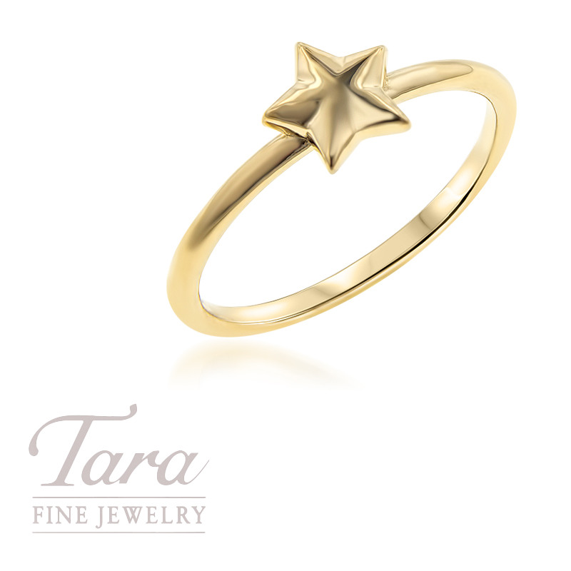 18K Yellow Gold Star Shape Stackable Ring