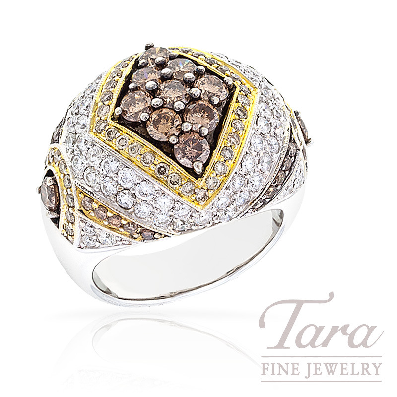 Diamond Ring in 18k Two Tone Gold, with Espresso and White Diamonds, 19.7g