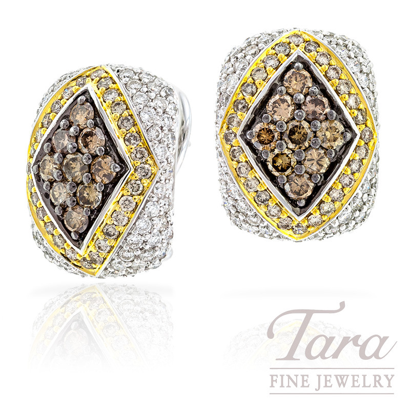 White and Espresso Diamond Earrings in 18k Two Tone Gold, 13.7g