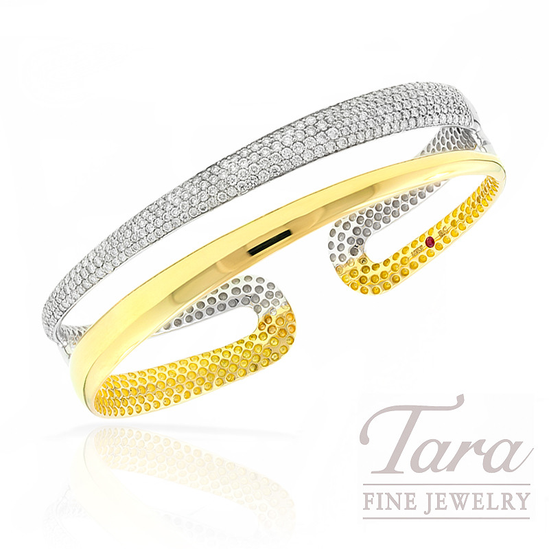 Roberto Coin Diamond Bracelet in 18k White and Yellow Gold, 1.75tdw