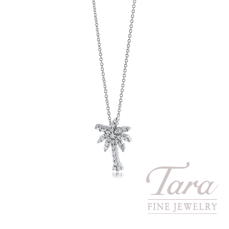 Roberto Coin 18K White Gold Palm Tree Necklace, .19TDW, 16/18