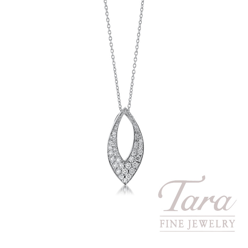 Roberto Coin 18K White Gold Drop Oval Diamond Necklace,  .50TDW, 16/18