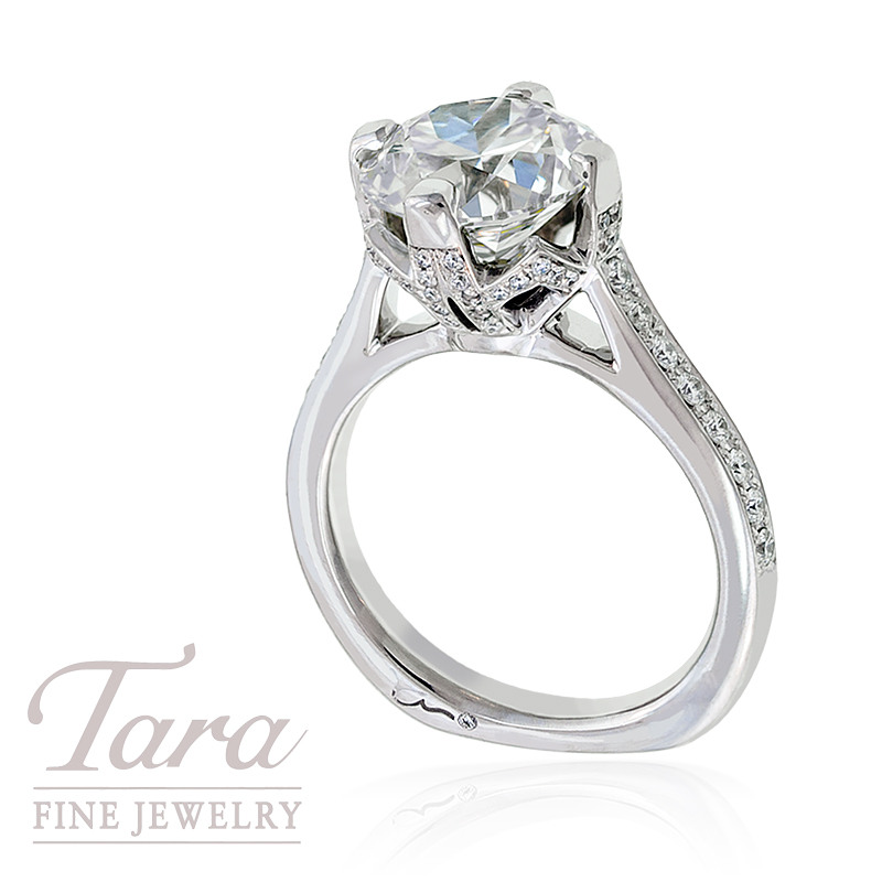 A. Jaffe Diamond Engagement Ring in 18 White Gold, .47tdw (Center stone sold separately)