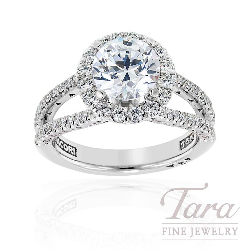 Tacori Diamond Wedding Ring in 18kt White Gold, .79 ctw (Center stone sold separately)