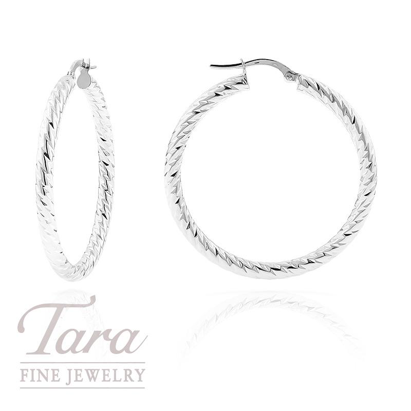 Diamond-Cut Hoop Earrings in 14k White Gold,