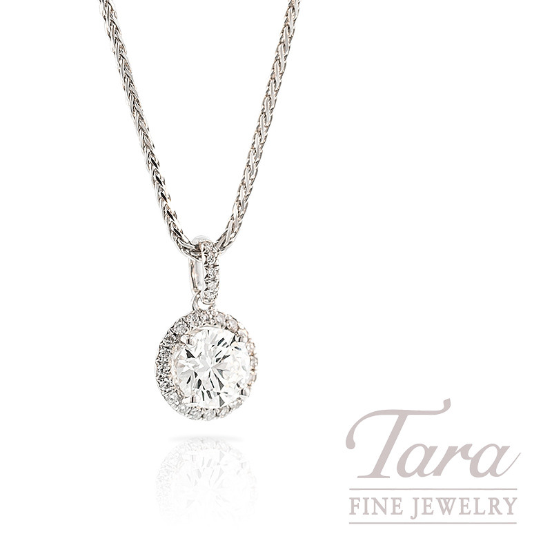 Forevermark Diamond Pendant with Halo in 18k White Gold, 1.00CT Center, .12TDW Halo