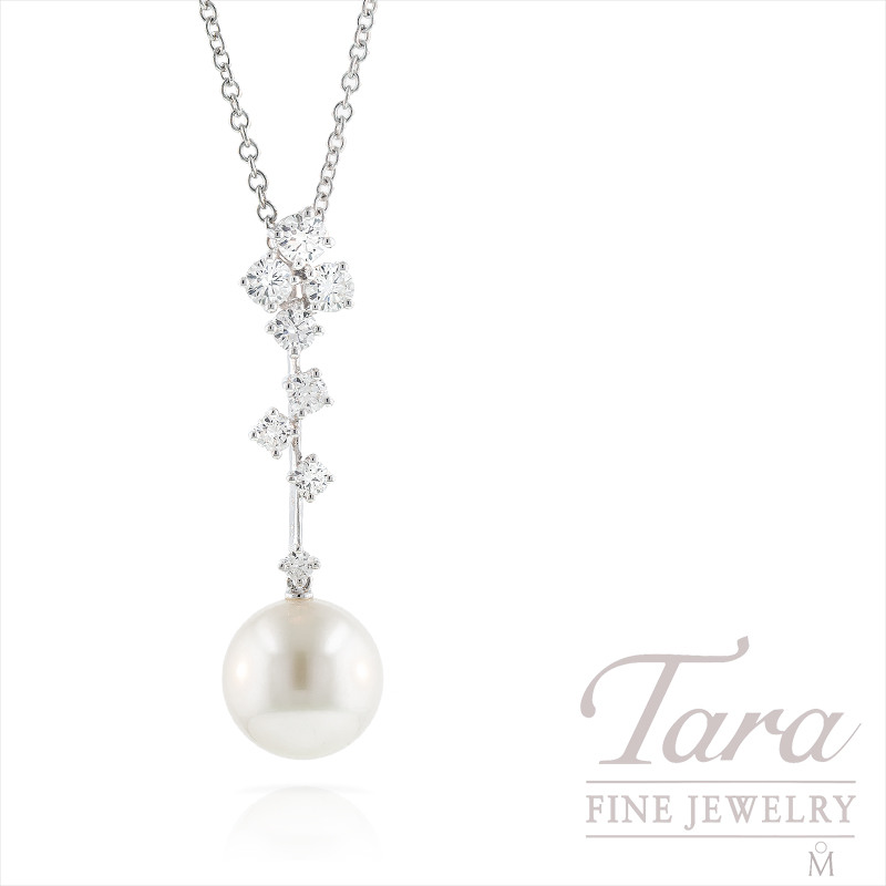 Mikimoto 11mm Pearl and Diamond Necklace, .81tdw
