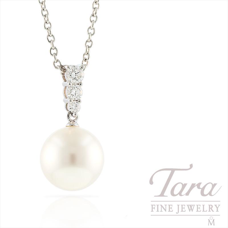 Mikimoto Pearl & Diamond Pendant in 18k White Gold, .25tdw