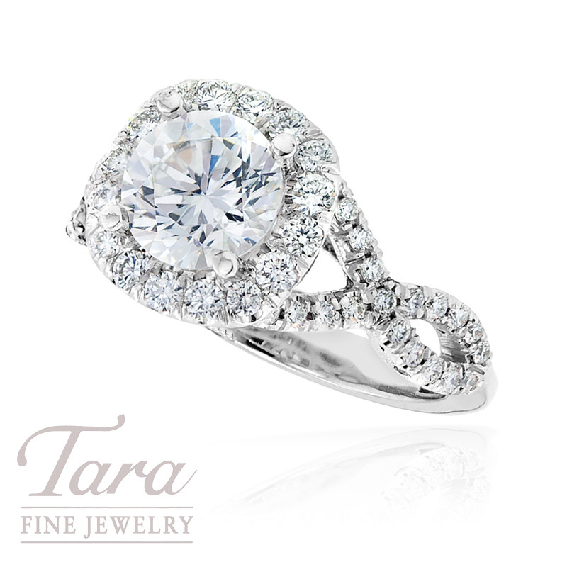 Tacori Diamond Wedding Ring in 18k White Gold, .77 ctw (Center stone sold separately)