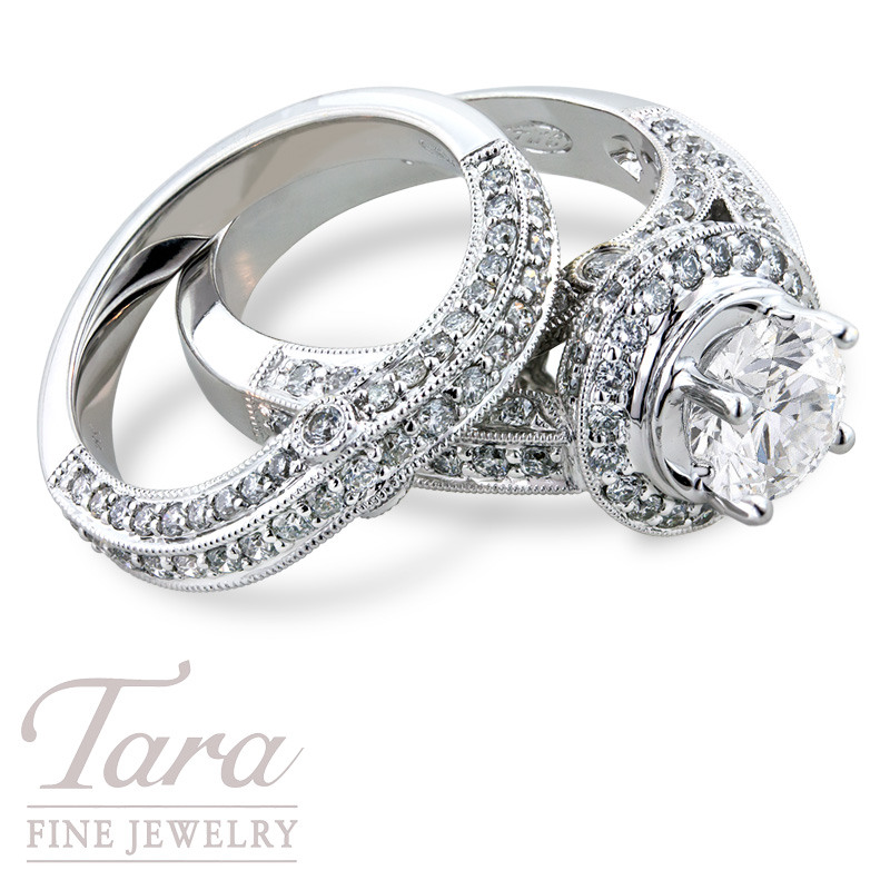 Diamond Wedding Set in 18K White Gold 1.0TDW, .60TDW (Center Stone Sold Separately)