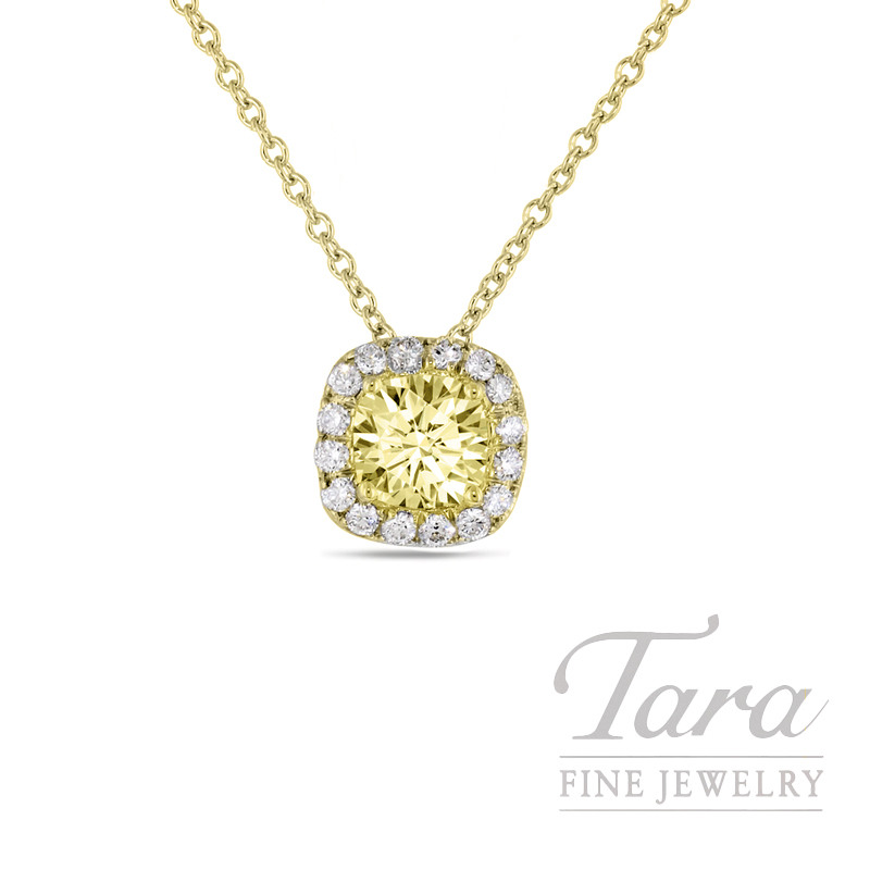 18K Yellow Gold Halo Yellow Diamond Necklace,  .63CT Fancy Yellow Cushion Diamond, VS1, .22TDW