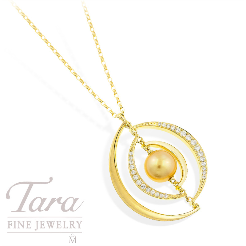 Mikimoto Golden Pearl and Diamond Pendant with Chain in 18k Yellow Gold, .70tdw