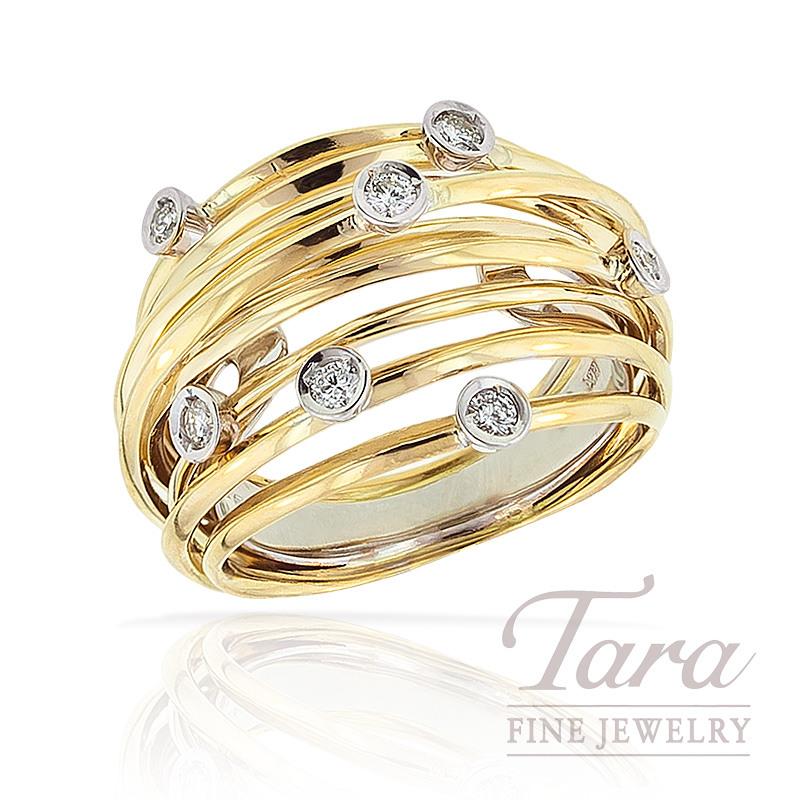 Hulchi Belluni Diamond Ring in 18K Yellow Gold, .21 TDW.