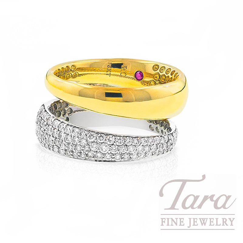 Roberto Coin Diamond Ring in 18k White and Yellow Gold, .68tdw