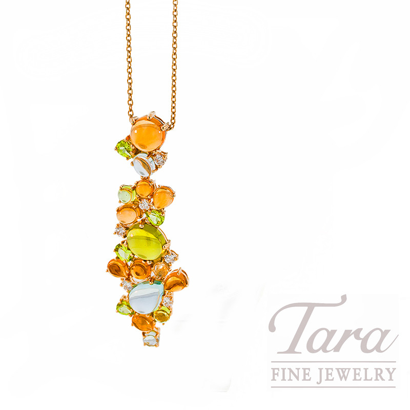 """Roberto Coin Gemstone and Diamond Necklace in 18kt Yellow Gold, .28tdw, """"Shanghai Collection"""""""