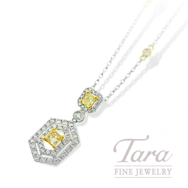 Yellow Diamond Pendant with Chain in 18K Two Tone Gold, .58TDW Two Fancy Yellow, .83TDW Halo Accent