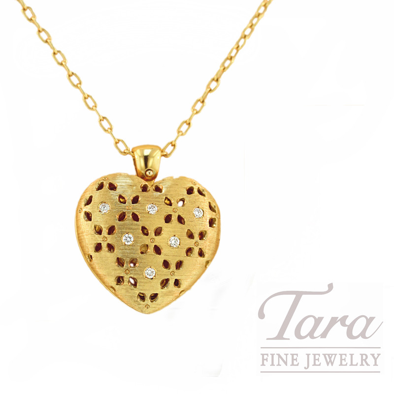 Roberto Coin Diamond Heart Pendant in 18kt Yellow Gold,  .14CT TDW