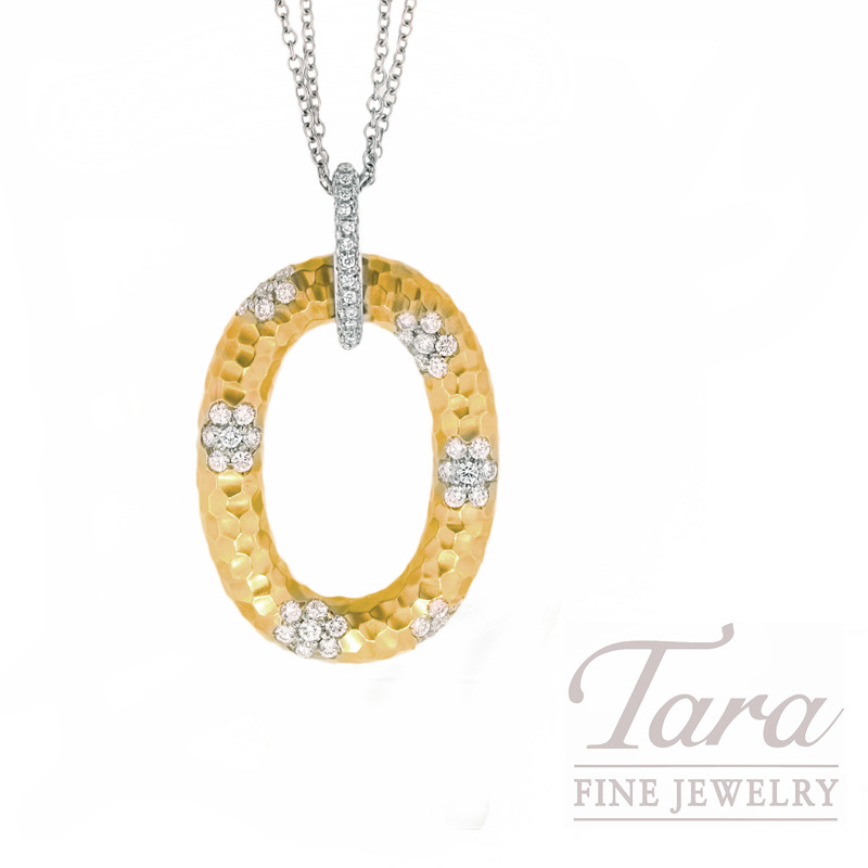 "Roberto Coin Diamond Pendant in  18kt Yellow Gold, 1.75tdw ""Martellato Collection"""