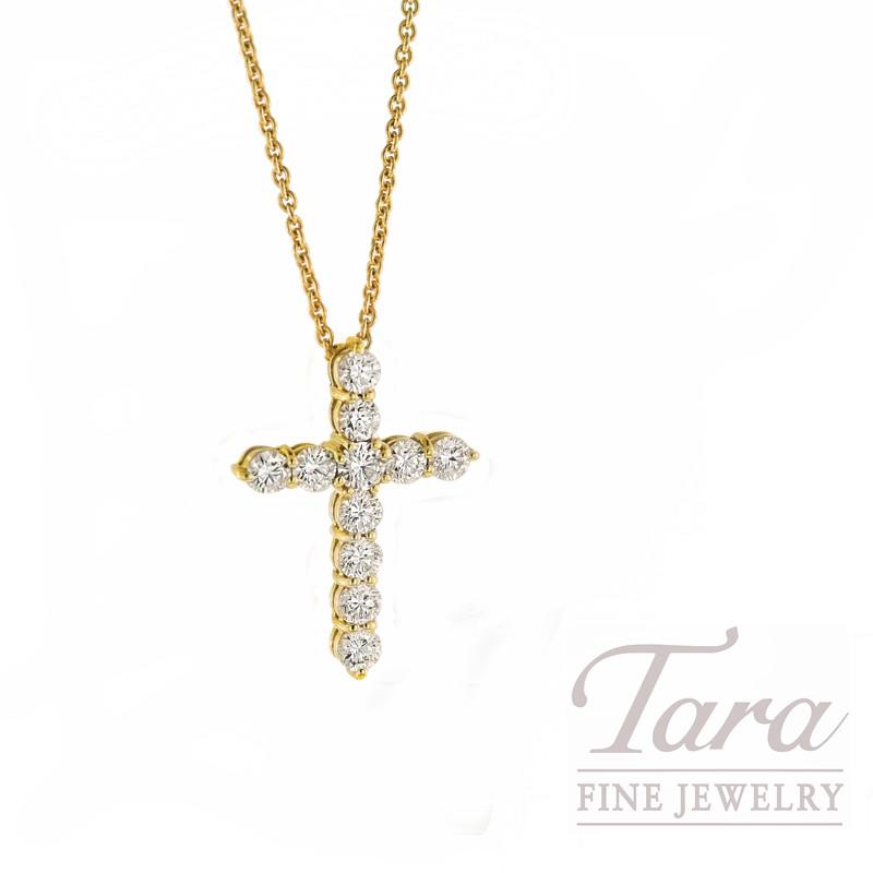 Roberto Coin Diamond Cross Pendant in 18K Yellow Gold, 1.44tdw