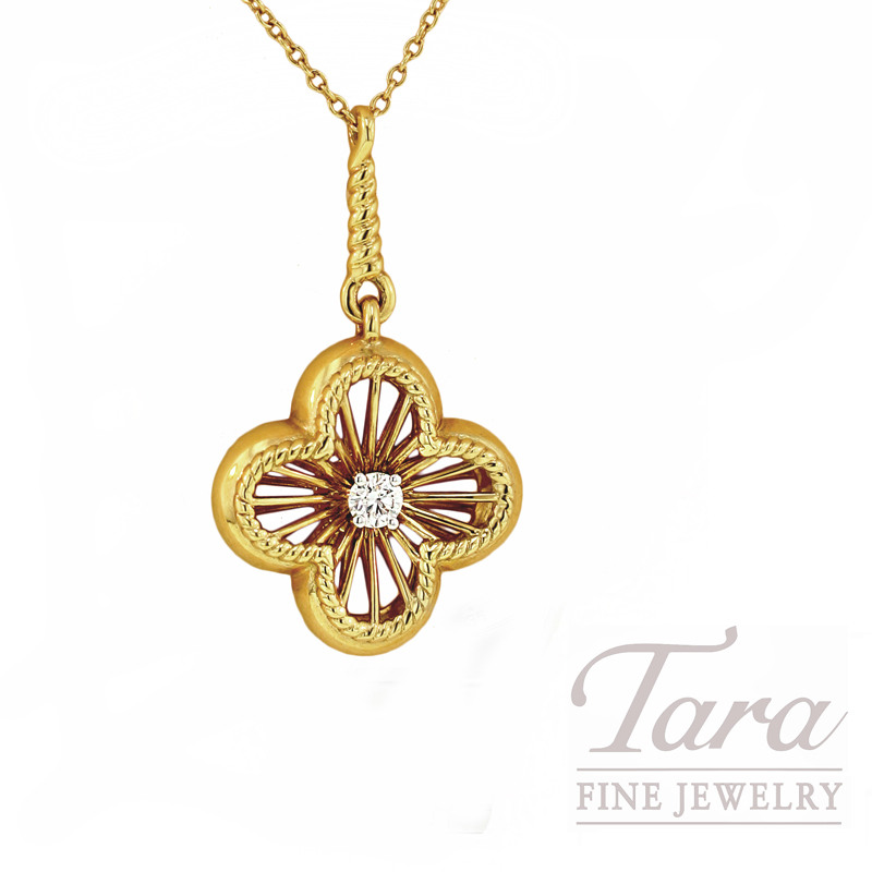 Roberto Coin Fleur de Lis Pendant in 18kt Yellow Gold with Diamonds,  .13CT TDW