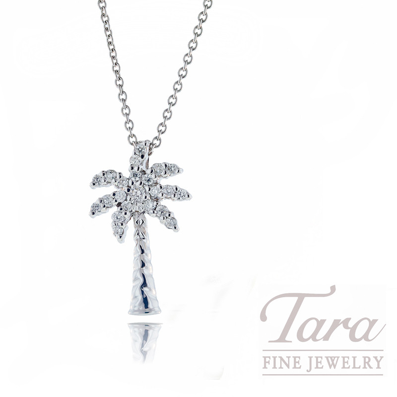 "Roberto Coin Diamond Pendant in 18kt White Gold ""Tiny Treasures Palm Tree"""