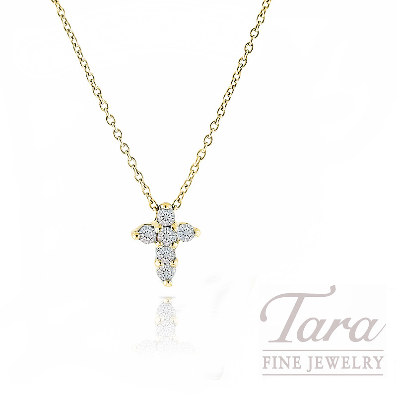 """Roberto Coin Diamond Cross Pendant in 18kt Yellow Gold, .20tdw """"Tiny Treasures Collection"""" with Chain"""