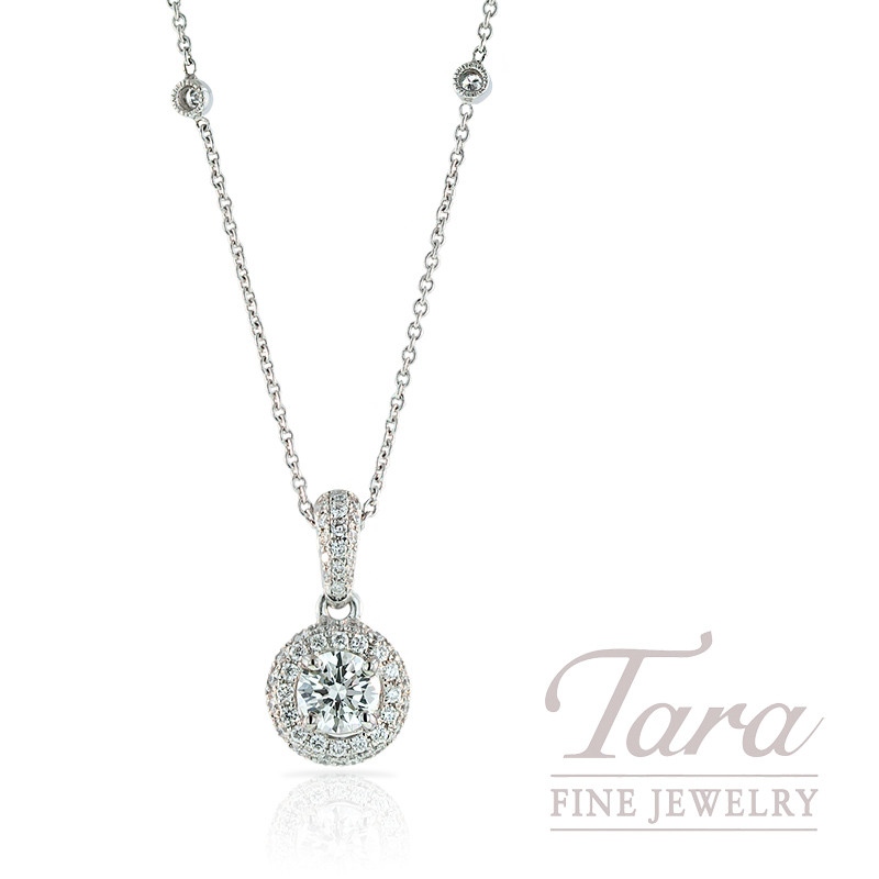 Forevermark Diamond Halo Pendant in 18K White Gold  with Diamond Chain - Click For Available Sizes!