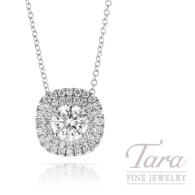 A. Jaffe Diamond Pendant in 18K White Gold,  .24TDW (Center stone sold separately)