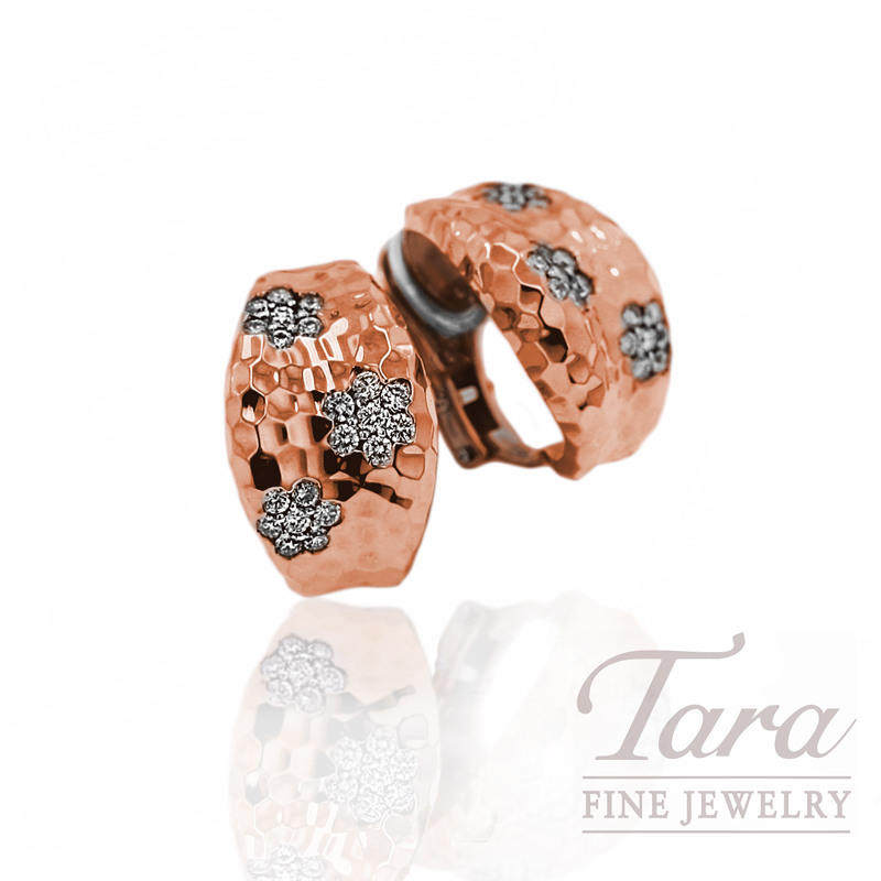 """Roberto Coin Diamond Earrings in 18kt Rose Gold, .96tdw """"Martellato Collection"""""""