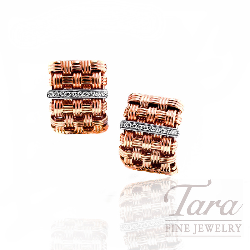 "Roberto Coin 18kt Rose Gold and Diamond Earrings, .12tdw ""Appassionata Collection"""