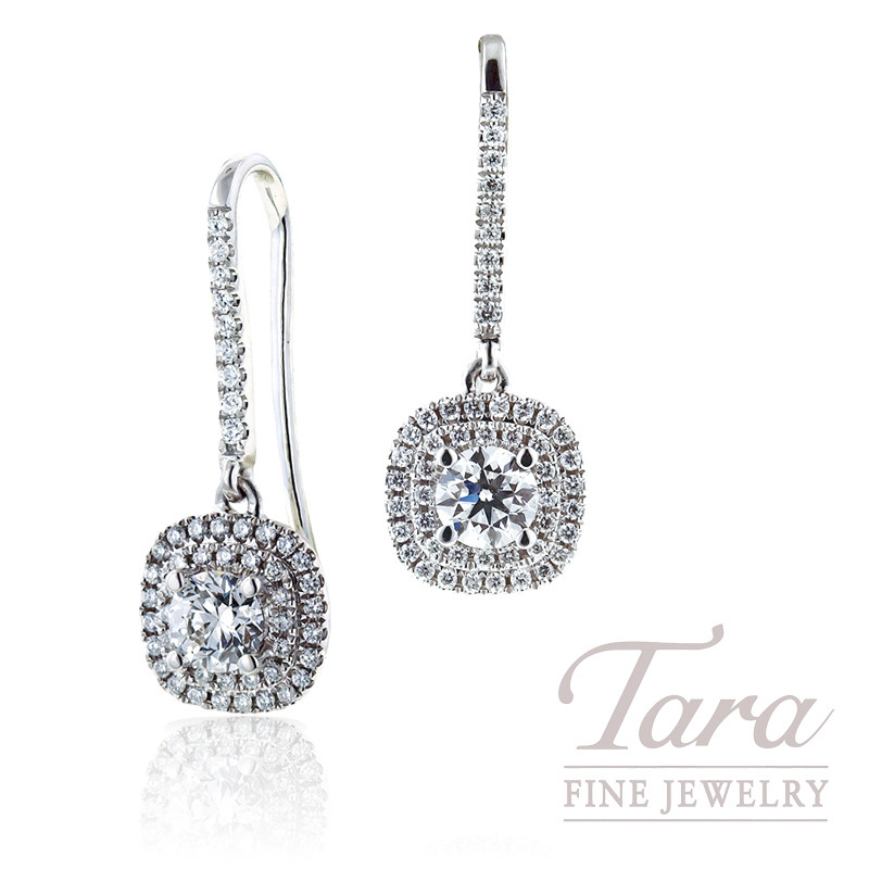 Forevermark Double Halo Drop Earrings in 18k White Gold .71TDW Centers, .40TDW Double Halos