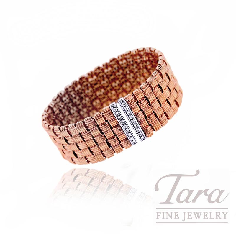 Roberto Coin Bracelet in 18k Rose Gold with .36tdw Diamond Closure,