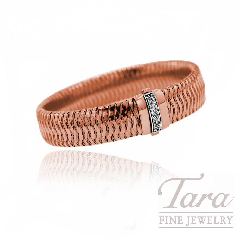 Roberto Coin Diamond Bracelet in 18k Rose Gold, .18tdw,