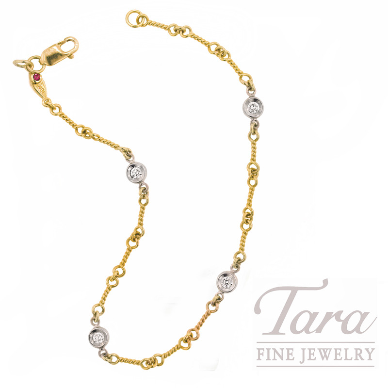 Roberto Coin Bracelet with Diamonds in 18K Yellow Gold, .16tdw