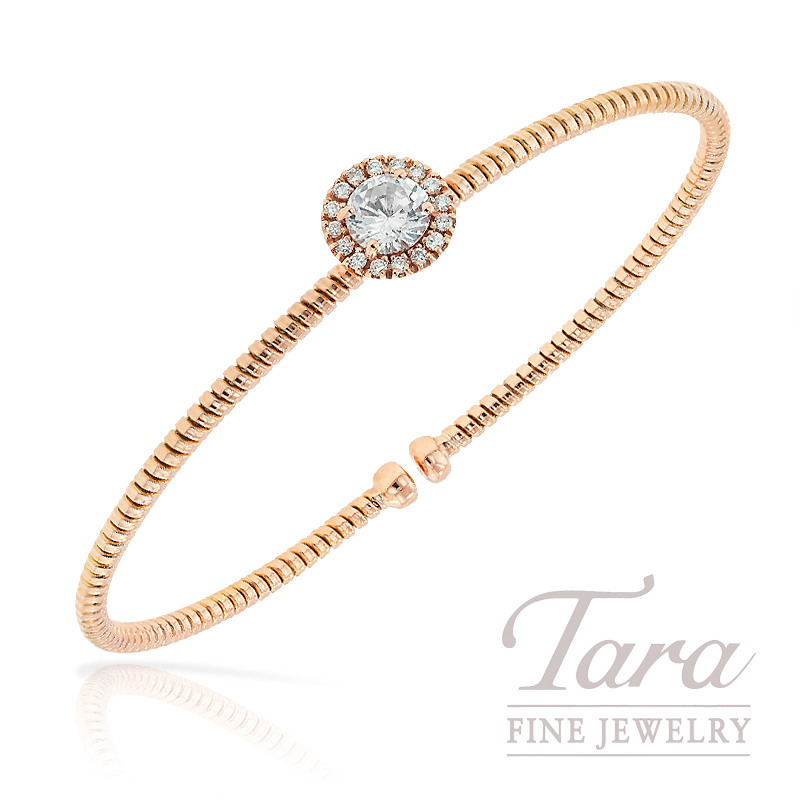 Hulchi Belluni Bangle with Topaz and Diamond in 18K Rose Gold, .13 tdw