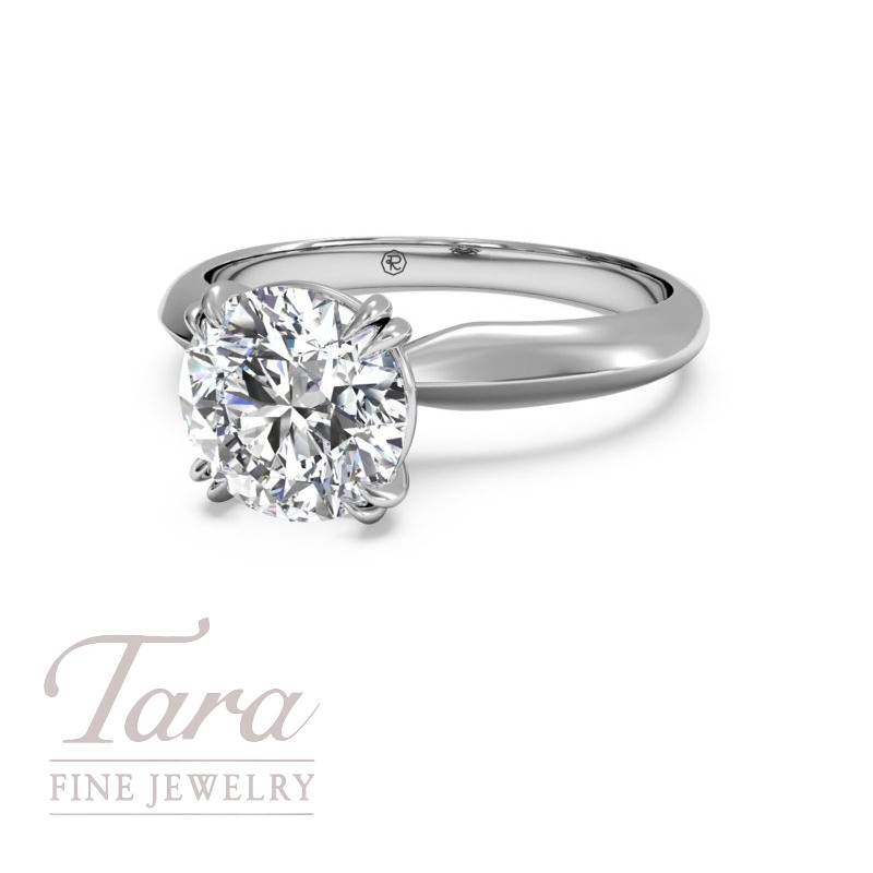 Solitaire Diamond Knife-Edge Tulip Engagement Ring in 18K White Gold & Platinum (center stone sold separately)