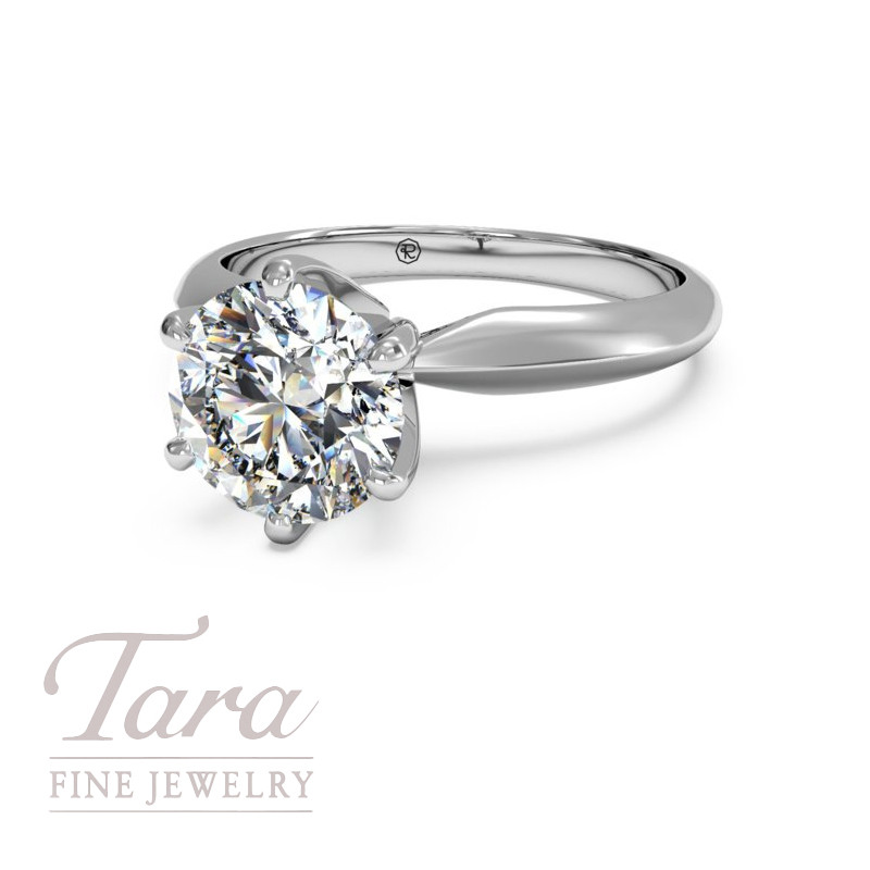Solitaire Diamond Six-Prong Knife-Edge Engagement in 18K White Gold (center diamond sold separately)